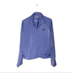 Adidas periwinkle blue stripe full zip & pockets